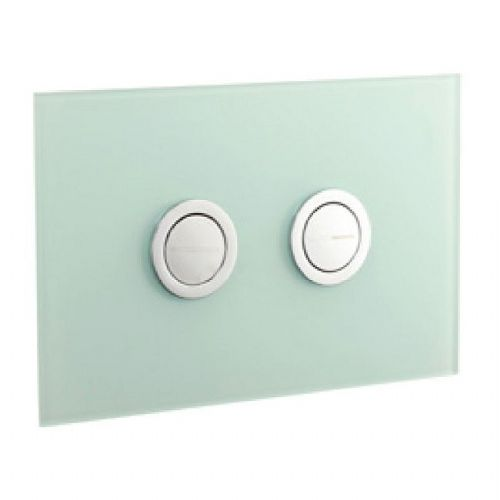 Abacus Lustrolite Press Panel Glass Effect Dual Flush Plate - Glacier